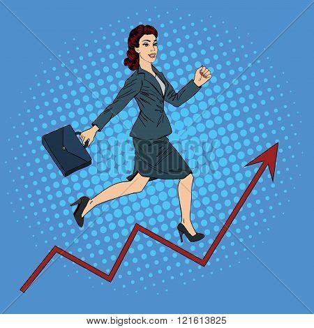 Success In Business. Pop Art Businesswoman Climbing Up The Career Ladder