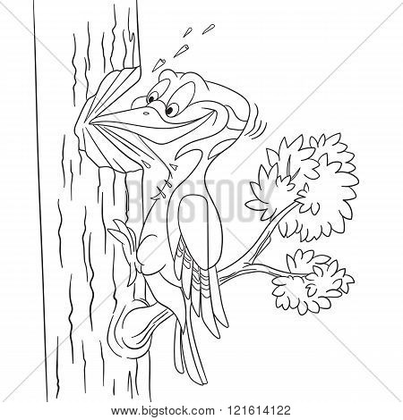 Cute Cartoon Woodpecker