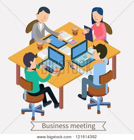 Business Meeting And Teamworking Isometric Concept. Office Workers With Laptops, Tablets And Documen