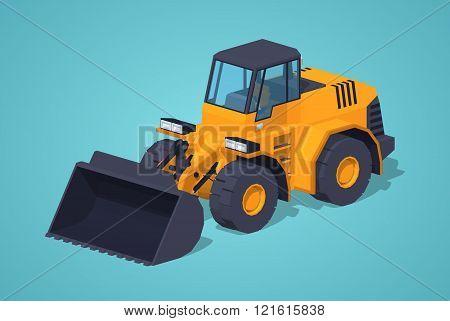Low poly yellow heavy bulldozer