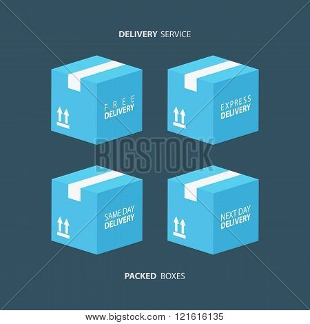 Boxes icons set. Packed boxes. Carton package box icons. Free delivery, express delivery.