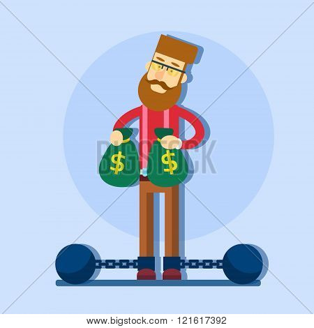 Business Man Hold Money Bag Chain Bound Legs Tax