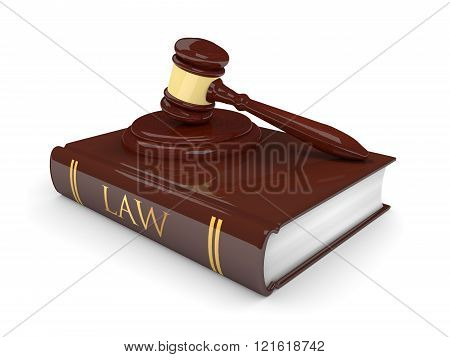 Legal Gavel With Law Book Isolated On White