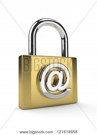 Gold Padlock With Email Sign Isolated On White Background