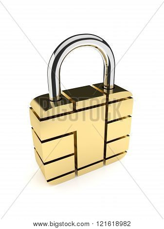 padlock from card microchip isolated on white background