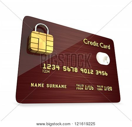 credit card isolated over white background