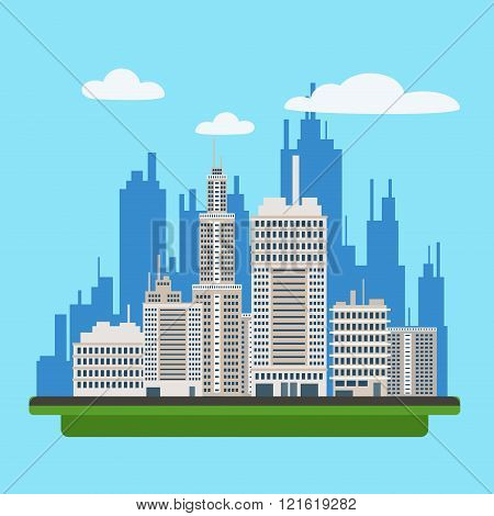 Megapolis Landscape With Modern Buildings Of Big City