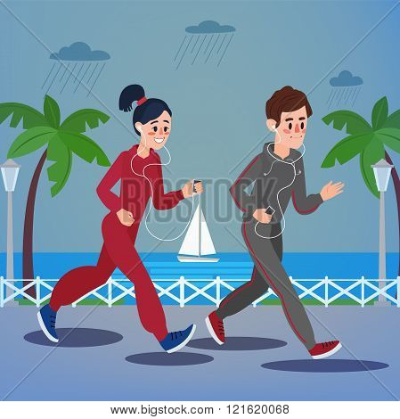 Man And Woman With Headphones Running On The Seaside Promenade Under Rain