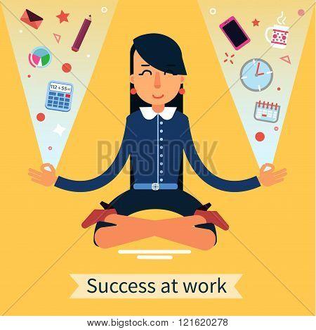 Businesswoman In Yoga Pose Searching The Balance At Multitasking Work