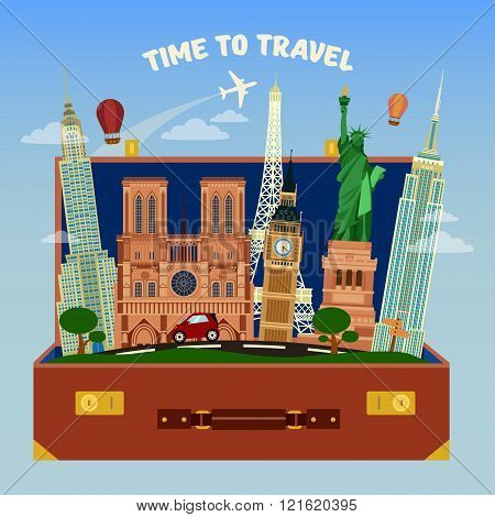 Time To Travel Banner. Suitcase Full Of World Famous Places With Airplane In The Sky