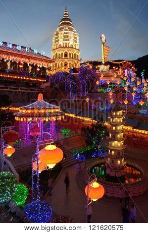Kek Lok Si light up during Chinese New Year