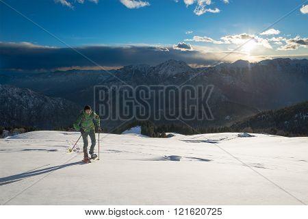 Sports Training In A Beautiful Winter Landscape.