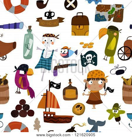 Hand Drawn Vector Background With Pirates Elements: Parrot, Ship, Anchor, Skeleton And Treasure. Awe