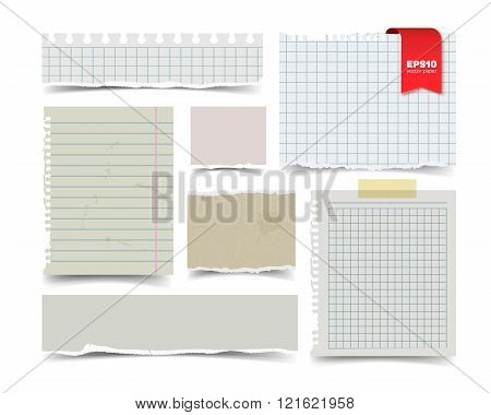 Set of old vintage notepaper sheets