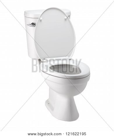 White Toilet Bowl In Bathroom With Clip Path