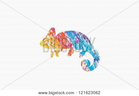 Chameleon logo. Creative logo. Animal logo design. Colorful logo.