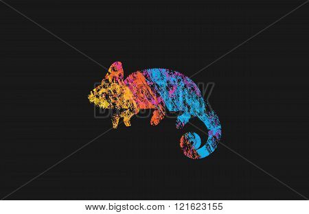 Chameleon logo. Creative logo. Animal logo design. Colorful logo.