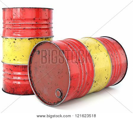 A rusted oil barrel isolated on a white background