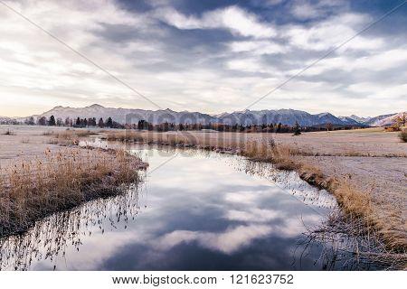 mountain sunrise in Bavaria at Uffing marshland