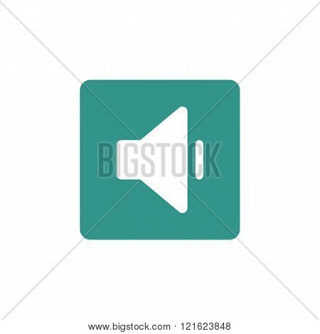 Volume Down Icon, On Green Rectangle Background, White Outline