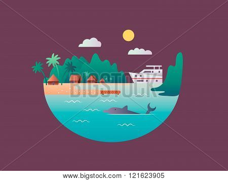 Yacht floats near the tropical shores