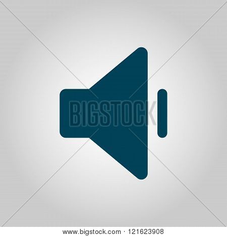 Volume Down Icon, On Grey Background, Blue Outline, Large Size Symbol