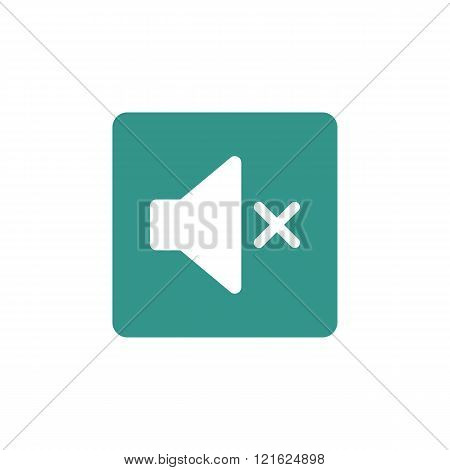 Volume Mute Icon, On Green Rectangle Background, White Outline