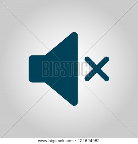 Volume Mute Icon, On Grey Background, Blue Outline, Large Size Symbol