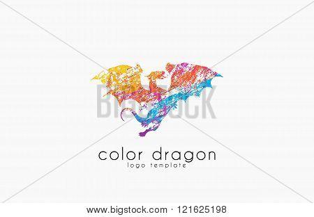 Dragon Logo. Color dragon logo. Creative logo design. Animal logo. Mystic logo. Magic logo.