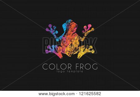 Frog logo. Color frog logo. Creative logo design. Animal logo.