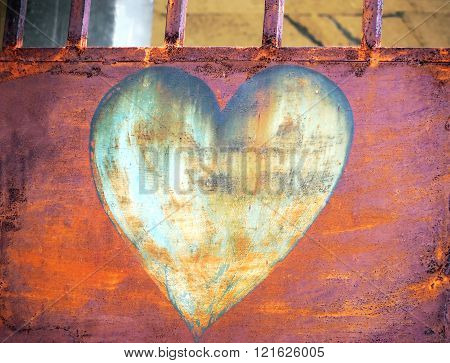 rust heart on metallic door - rust photo texture
