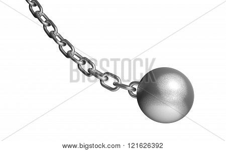 Demolish Ball Hanging On The Iron Chain. Isolated On White.