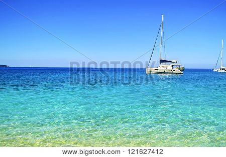 turquoise sea on Ionian islands Ithaca Greece