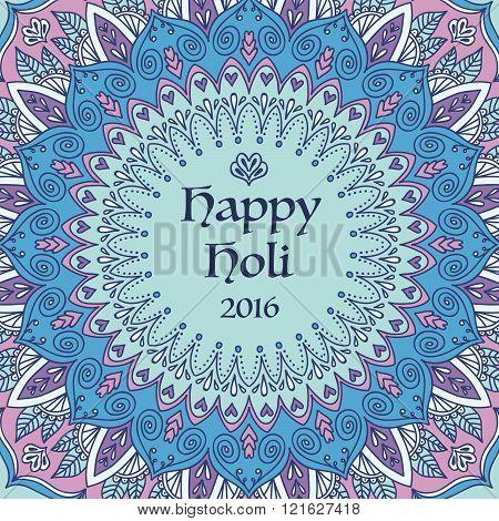 Mandala Happy Holi Card.