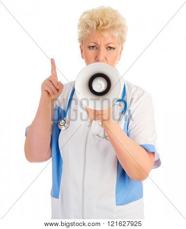 Mature doctor with bullhorn isolated