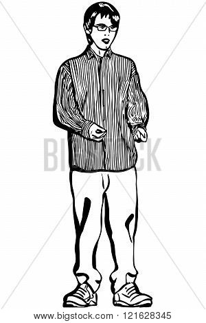 Vector Sketch Of A Young Man In Glasses And A Striped Shirt