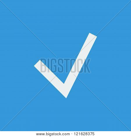 Accept Icon, On Blue Background, White Outline, Large Size Symbol