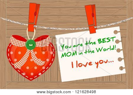 Heart Greeting For Best Mom