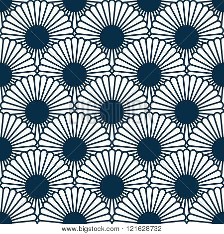 Japanese style chrysanthemum seamles pattern. Traditional flower. Background to copy without any sea