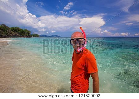 a young Man snorkeling in blue Indian ocean