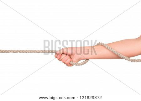 Close Up Of Hands Pulling A Rope On White Background With Clipping Path
