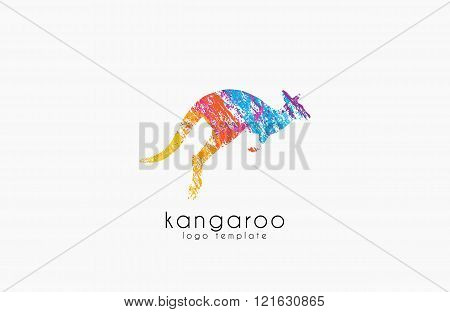 Kangaroo logo. Australia logo design. Animal logo. Creative logo. Nature logo