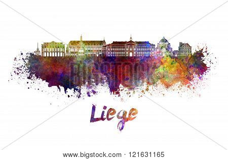 Liege Skyline In Watercolor