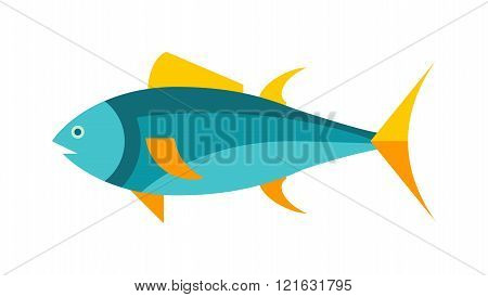Tuna fish cartoon animals vector illustration. Yellowfin tuna in fast motion. Flat simple tuna vector illustration. Tuna fish marine food. Healthy seafood tuna.
