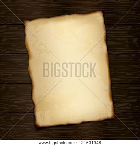 Piece of old paper on wood texture background. Image trace. Vector illustration.