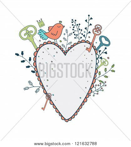 Vector Love Frame. Spring Illustration Of Cute Bird, Heart And F