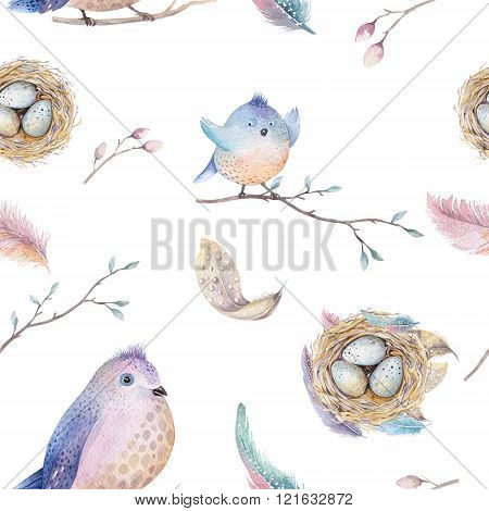 Watercolor  Spring  Rustic Pattern With Nest, Birds, Branch,tree