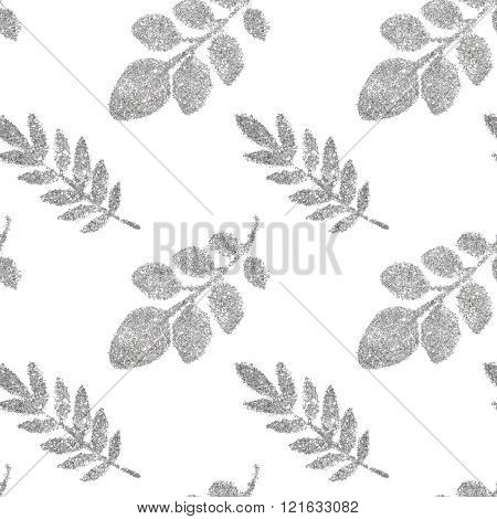 Leaves of silver glitter on white background, seamless pattern