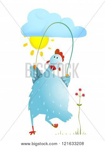 Hen Jumping Rope Childish Cartoon