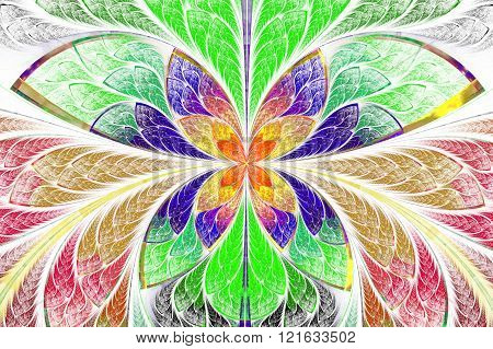 Multicolored symmetrical fractal pattern as flower or butterfly in stained-glass window style. On light. Computer generated graphics.
